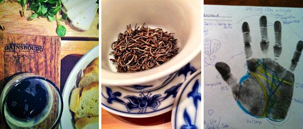 Bonne bouffe au Gainsbourg, séance potinage à la Maison de thé Chai Yi et on lit les lignes de ma main au Centre Birla