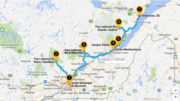 Carte des 7 merveilles naturelles du Québec
