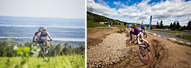 À gauche : sentier de cross-country. À droite : la « pump track ». Crédits photos : Mont Sainte-Anne.
