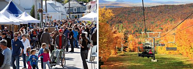 Gauche : Rêve d'automne Festival de peinture, Baie-Saint-Paul. Droite : Festival d'automne du Mont Sutton