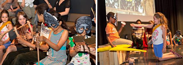 L'Atelier des muses propose une foule d'activités aux enfants en marge de l'exposition Les Maîtres de l'Olympe. On les voit ici en action dans la pièce de théâtre Olympiades.