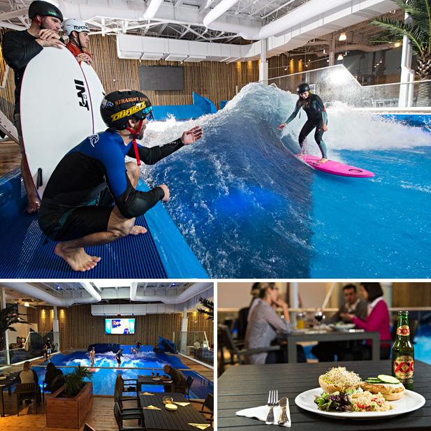 Oasis Surf, la première vague de surf intérieur au Canada propose aussi un côté restaurant-bar aux ambiances de bord de mer.