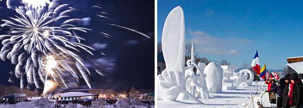 Feux d'artifice et sculpture sur neige à la Fête d'hiver de Saint-Jean-Port-Joli