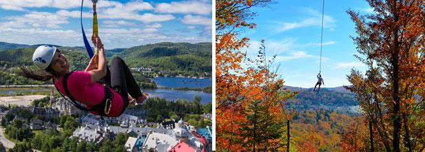 Photo de gauche: Ziptrek Ecotours, crédit photo: Daniel Cooper. Photo de droite: Typoparc, crédit photo: Isabelle Cornette