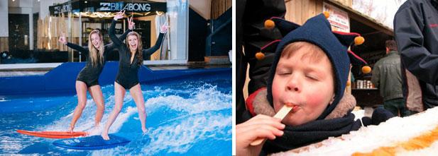 À gauche: Oasis Surf. À droite: le temps des sucres au Jardin botanique de Montréal