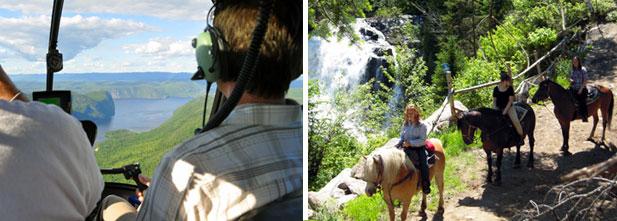 Gauche: tour d'hélicoptère avec Héli-Charlevoix. Droite: randonnée à cheval avec Camping et Ranch du Fjord.