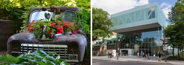 Gauche: Jardin Daniel A. Séguin. Droite: Nouveau pavillon Pierre Lassonde au Musée national des beaux-arts du Québec.