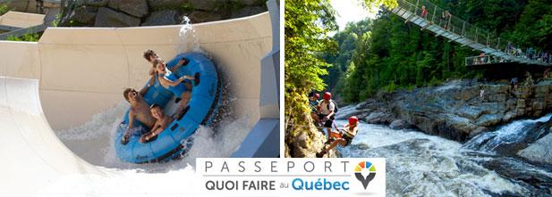 Gauche: Parc aquatique de Bromont. Droite: Via ferrata du Canyon Sainte-Anne.