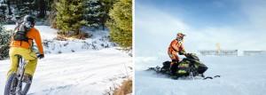 Gauche: vélo hivernal au Parc de la Gorge de Coaticook. Droite: Grand Prix Ski-Doo de Valcourt.
